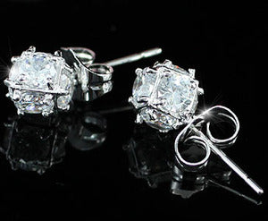 3 Carat Cube Created Diamond Stud Earrings XE345