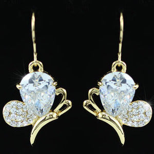 Dangle 4.5 Carat CZ Created Diamond Butterfly Gold Earrings XE354