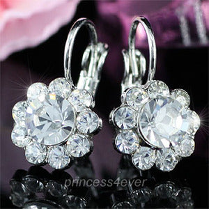 Dangle Flower Earrings use Austrian Crystal XE356