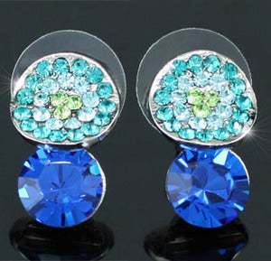 2 Carat Blue Earrings use Austrian Crystal XE362