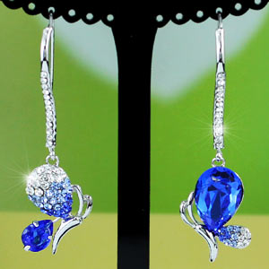Blue CZ Created Stone Butterfly Earrings use Austrian Crystal XE379