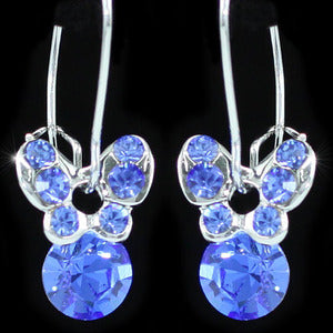 Dangle Butterfly Blue Crystal Earrings XE387
