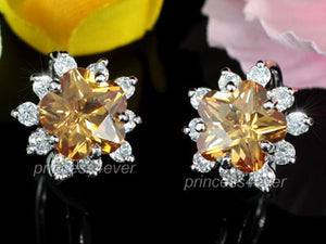 Yellow Flower CZ Cubic Zirconia Huggie Earrings XE407
