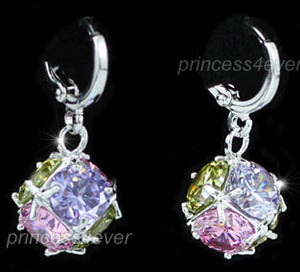 7.5 Carat Multi-Color Created Topaz Dangling Cube Earrings XE409