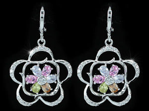 Multi-Color Flower Created Topaz Dangling Earrings XE432