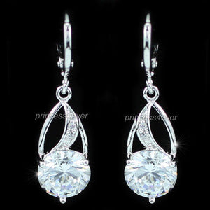 Dangle 1.5 Carat Sparkling CZ Created Diamond Earrings XE438