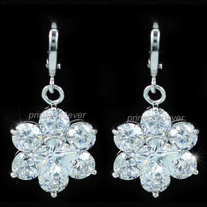 Dangle Flower 3.5 Carat CZ Created Diamond Earrings XE440