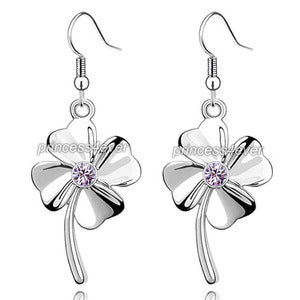 Purple Dangle 4 Leaf Clover Flower Earrings use Swarovski Crystal XE478