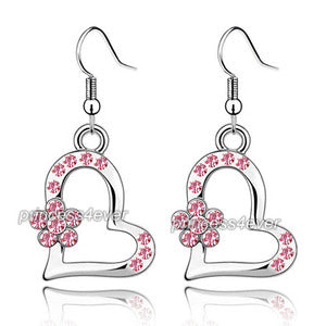 Pink Dangle Heart Flower Earrings use Swarovski Crystal XE483