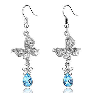 2 Carat Aqua Blue Dangle Butterfly Earrings Use Austrian Crystal XE487
