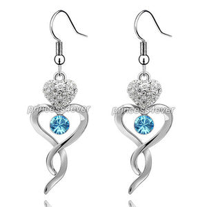 Aqua Blue Dangle Heart Earrings use Austrian Crystal XE490