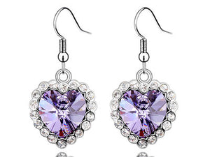 3 Carat Purple Dangle Heart Earrings use Austrian Crystal XE495
