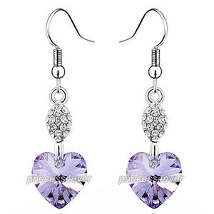 Dangle 3 Carat Purple Heart Earrings use Austrian Crystal XE499
