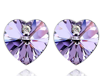 3 Carat Purple Heart Earrings use Austrian Crystal XE503