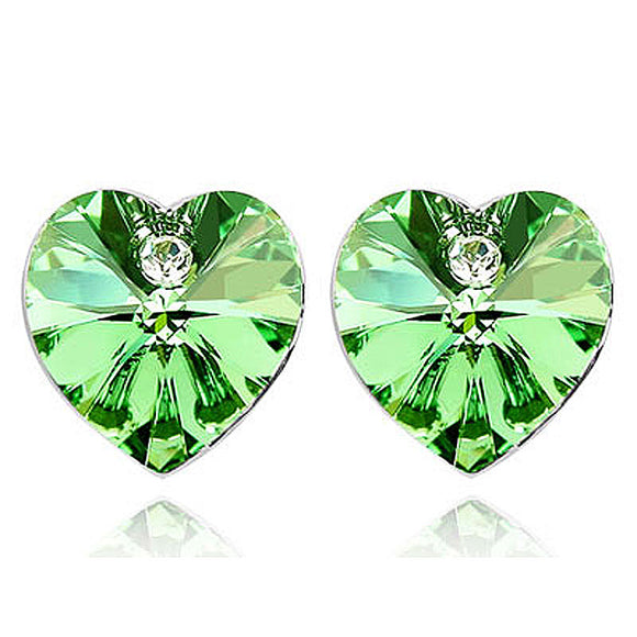 3 Carat Green Heart Earrings use Austrian Crystal XE505