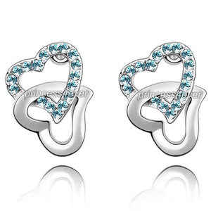 Double Heart Aqua Blue Earrings use Austrian Crystal XE508