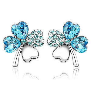 4 Leaf Clover Flower Aqua Blue Earrings use Austrian Crystal XE519