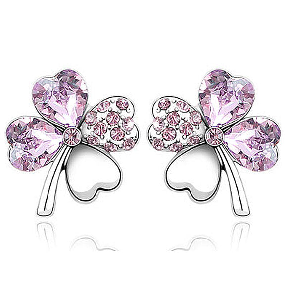 4 Leaf Clover Flower Light Lilac Purple Earrings use Austrian Crystal XE521