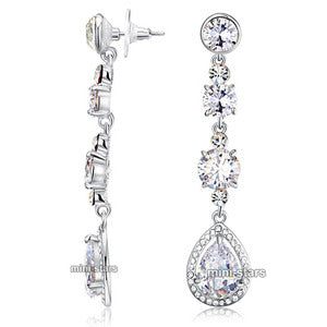 Bridal Wedding Pageant Created Diamond Dangle Earrings XE523
