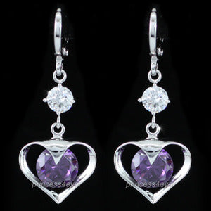 Dangle Heart 2 Carat Purple Created Sapphire Earrings XE539