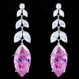 High Quality Dangle 6 Carat Created Sapphire Earrings XE552