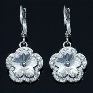 Dangle Flower Earrings use Austrian Crystal XE557