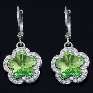Dangle Green Flower Earrings use Austrian Crystal XE558