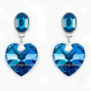 Dangle 6 Carat Blue Heart High Quality Earrings use Austrian Crystal XE562