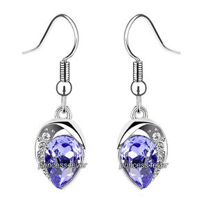 Purple Dangle Pear Cut Earrings use Swarovski Crystal XE568