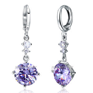 Dangle Heart 2.5 Carat Purple Created Sapphire Earrings XE579