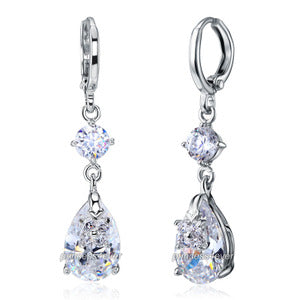 Dangle Bridal Party Tear Drop 3 Carat CZ Created Diamond Earrings XE585