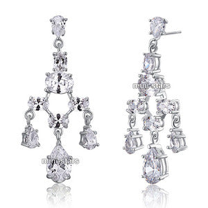 Bridal Wedding Pageant Chandelier CZ Created Diamond Dangle Earrings XE590