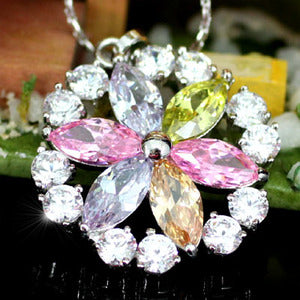 Multi-color Created Topaz Flower Pendant w/ Necklace XN126