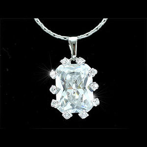 10 Carat Emerald Cut Created Diamond CZ Pendant Necklace XN149