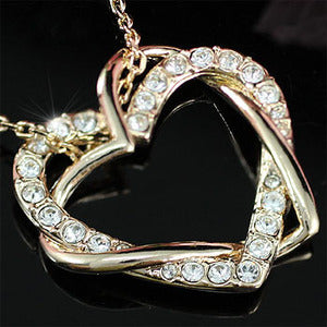 Heart Rose Gold Plated Necklace use Swarovski Crystal XN158