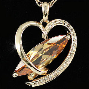 Heart Rose Gold Plated 8 Carat Sapphire Necklace XN159
