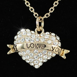 "Heart ""I Love You"" Rose Gold Plated Pendant Necklace XN160"