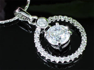 1.5 Carat Round Cut Created CZ Pendant Necklace XN180