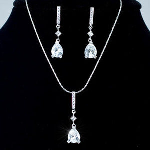 6 Carat Pear Cut CZ Created Necklace Earrings Set XN181