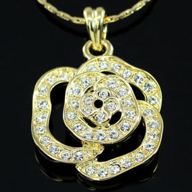 Gold Plated Rose Necklace use Swarovski Crystal XN204