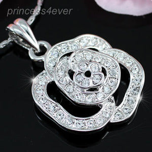 Rose 18K Necklace use Swarovski Crystal XN205