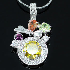 3.5 Carat Created Topaz Necklace use Austrian Crystal XN216
