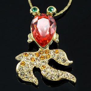Gold Fish Necklace use Swarovski Crystal XN226