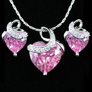 9 Carat Pink Heart Created Sapphire 18K Necklace Earrings Set XN245