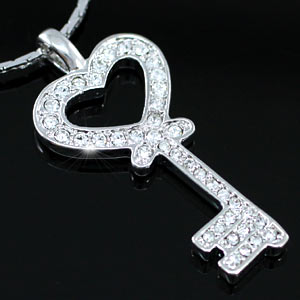 Love Key Pendant Necklace w/ Swarovski Crystal XN250