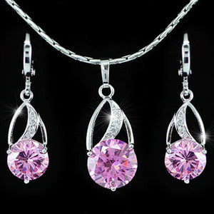 7.5 Carat Created Pink Sapphire 18K Necklace Earrings Set XN264