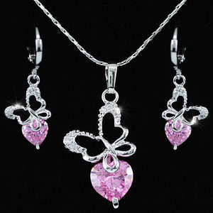 Butterfly 3.5 Carat Created Pink Sapphire 18K Necklace Earrings Set XN266