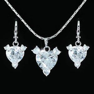 13 Carat Created Diamond Heart 18K Necklace Earrings Set XN267