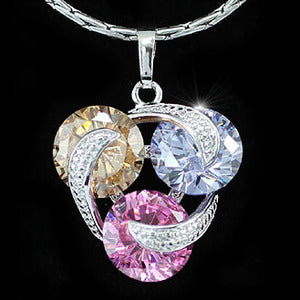 7.5 Carat Multi-Colour Created Topaz Pendant Necklace XN268