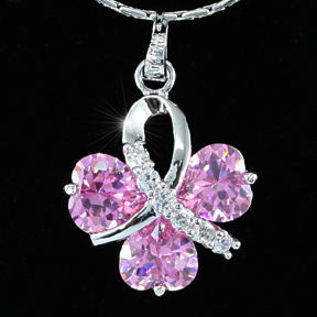 4.5 Carats Heart Flower Created Sapphire Pendant & Necklace XN273
